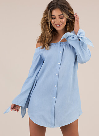Tie It In Off-Shoulder Shirt Dress