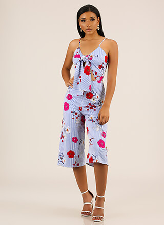 Tie Together Striped Floral Jumpsuit