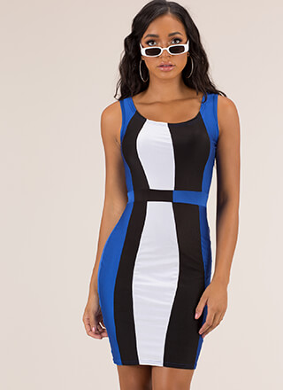 Unexpected Curves Colorblock Midi Dress
