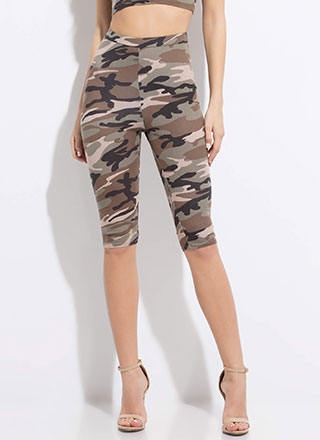 In Command High-Waisted Camo Shorts