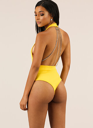 Chain Of Command Halter Thong Bodysuit