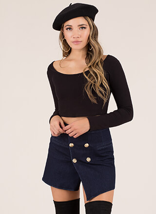 Push My Buttons Wrapped Denim Skirt