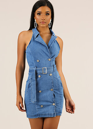 Good Jeans Belted Denim Minidress
