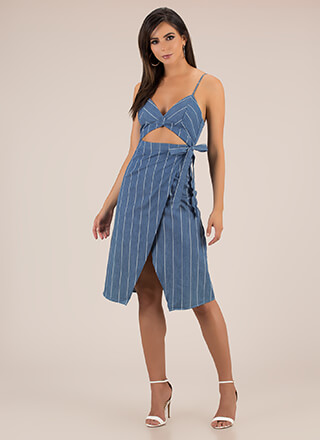 Pinstriped Perfection Cut-Out Dress