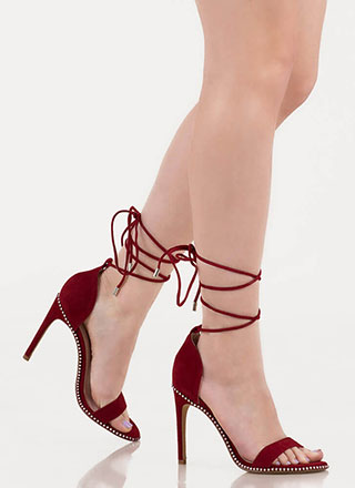 Gorgeous Gams Studded Lace-Up Heels