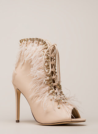 Feathers And Jewels Peep-Toe Booties