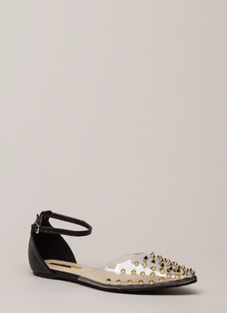 Clearly Edgy Spiky Strappy Studded Flats