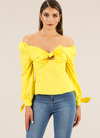Bow For It Tied Off-Shoulder Top