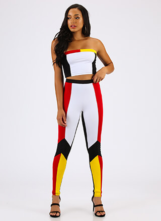 In Living Colorblock Top And Legging Set
