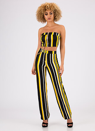 Chaining Day Striped Top And Pant Set