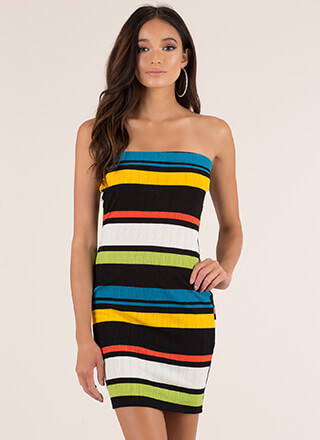 Colorful Personality Striped Tube Dress