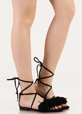Shaggy Chic Lace-Up Fringe Sandals