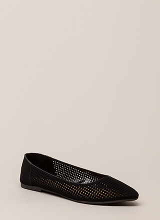 Fair And Square Netted Laser-Cut Flats