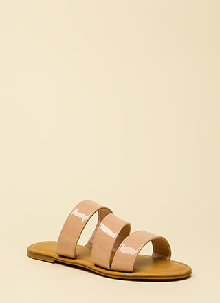 Wild And Three Faux Patent Sandals