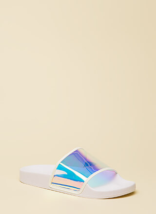 Clearly Cool Platform Slide Sandals