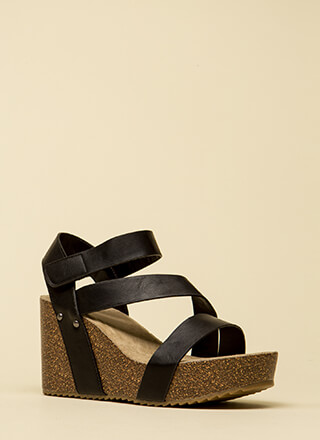 Strap Chat Faux Leather Platform Wedges
