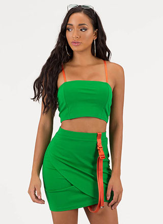 Buckle Up Strappy Top And Skirt Set