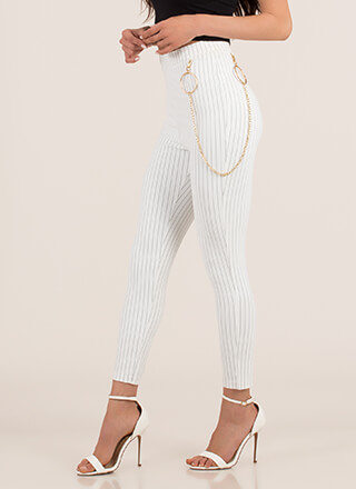 Ring Leader Chained Pinstriped Pants