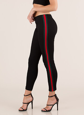 Running Lines Striped Skinny Pants