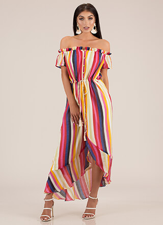 Fiesta Striped Off-Shoulder Maxi Dress