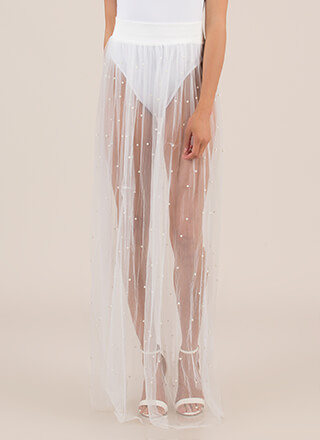 Be Delicate Sheer Faux Pearl Maxi Skirt