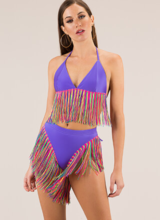 Pool Party Rainbow Fringe Bikini Set