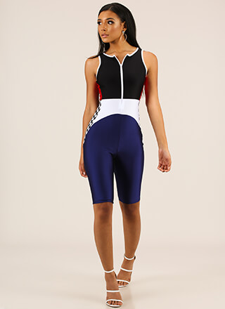 Race You Cropped Colorblock Jumpsuit