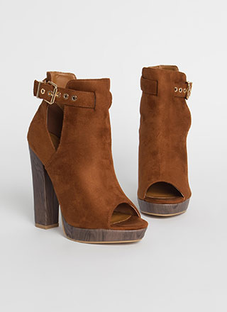 High Regard Chunky Peep-Toe Booties