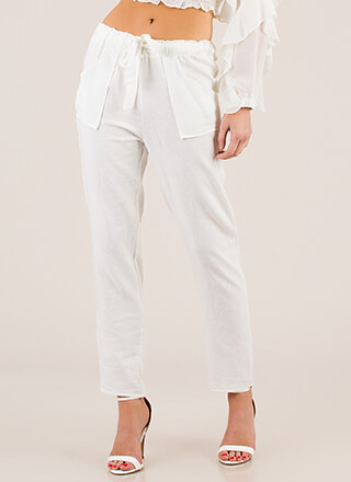 Mediterranean Vacation Tied Linen Pants