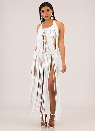 Pull Some Strings Fringed Halter Maxi