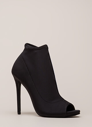 You're Covered Peep-Toe Stiletto Booties