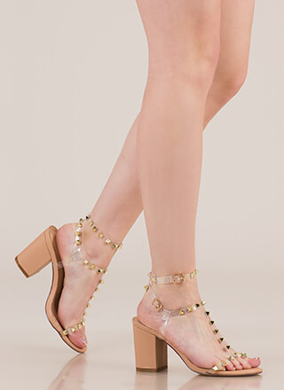 Clearly A Stud Strappy Block Heels