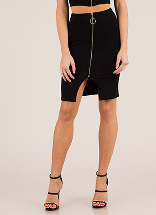 A Familiar Ring Zip-Front Skirt