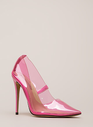 See You Through It Clear Pointy Pumps