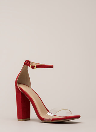 Clear Winner Chunky Ankle Strap Heels