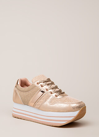 Skywalkin' Metallic Platform Sneakers