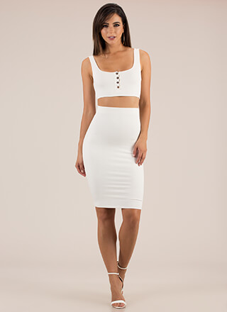 Seriously Sleek Top And Skirt Set
