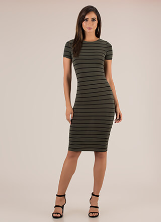 Please Line Up Striped Midi Dress