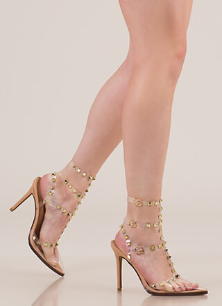 Clear Statement Pointy Studded Heels