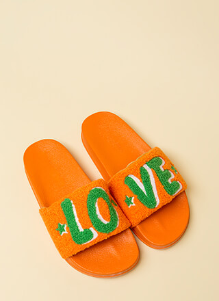 Love It Graphic Faux Fur Slide Sandals