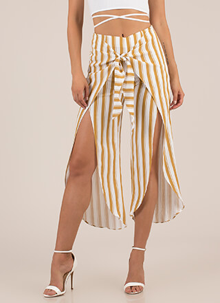 Knot On Vacation Striped Sarong Pants