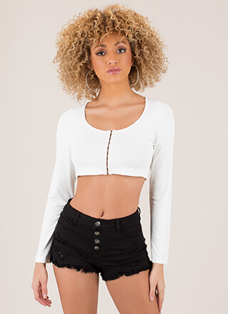 Hooked On You Rib Knit Crop Top