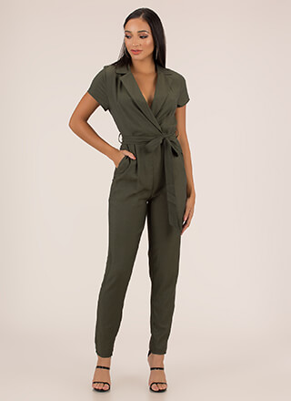 Ready To Work Solid Belted Jumpsuit