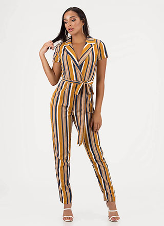 Ready To Work Striped Belted Jumpsuit