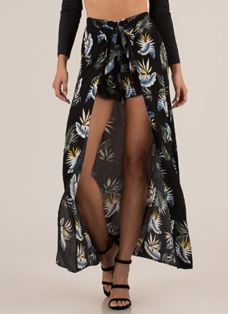 Tropical Sarong Tie-Front Maxi Shorts