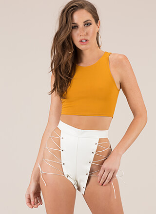 Leather And Laces Cut-Out Shorts