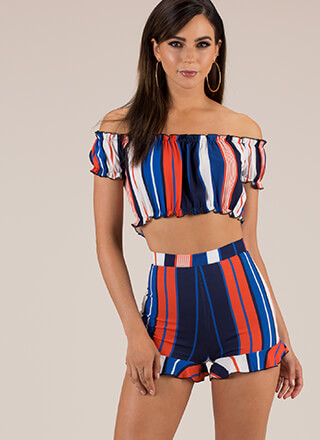 Have Some Fun Striped Top And Shorts Set