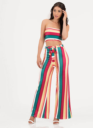 Candy Girl Striped Top And Pant Set