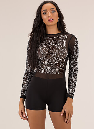 Seriously Studded Sheer Mesh Romper