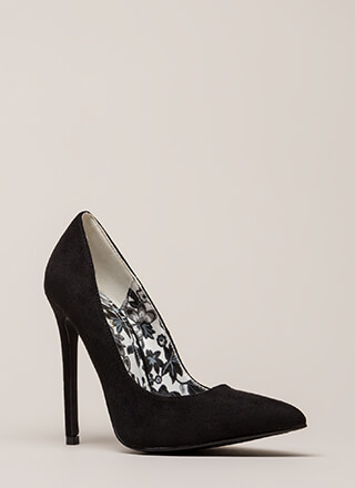 Inside And Out Pointy Faux Suede Pumps